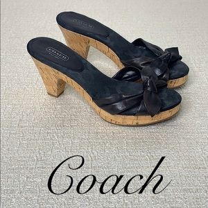 COACH BLACK SIZE 9 'KAREN' SANDAL WITH CORK HEEL